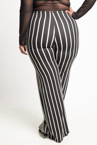 Plus Size Vertical Stripe Wide Leg Pants [SALE]