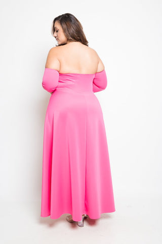 Plus Size Off Shoulder Tail Back Flirty Jumpsuit