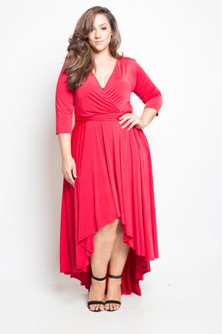 Plus Size Flowy Hi-lo Surplice Midi Dress