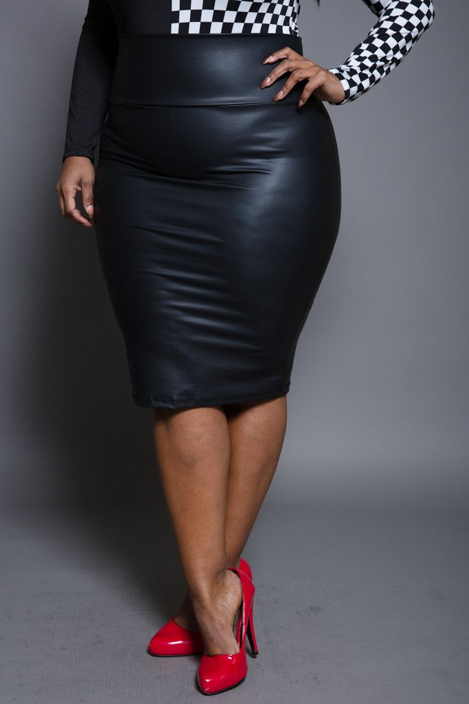 b20a136c6da Plus Size Faux Leather Midi Skirt – Plussizefix