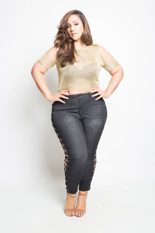 Plus Size Sexy Lace Up Skinny Jeans [SALE]