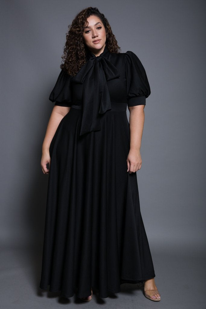 Plus Size Puff Sleeve Flowy Maxi Dress