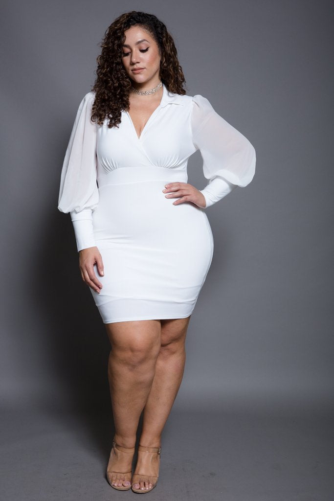 Plus Size Bubble Sleeves Collared Dress