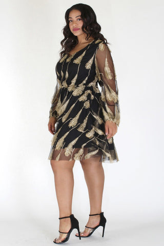 Plus Size Gold Embroidered Feather Queen See-Through Dress [PRE-ORDER 25% OFF]