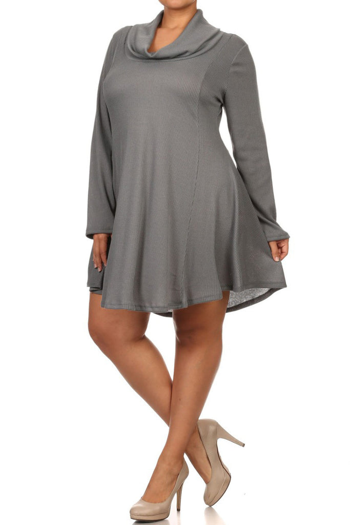 Plus Size Cowl Neck Sweater Knit Tunic Dress