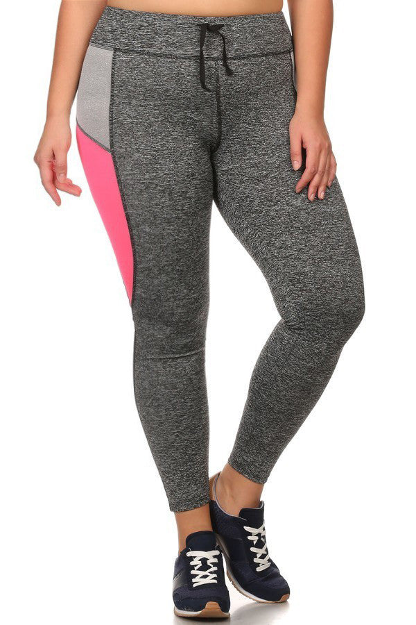 Plus Size Active Leggings with Adjustable Waistband