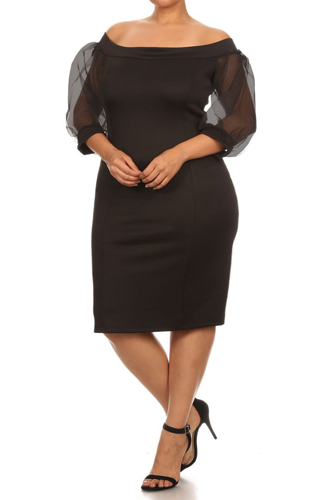 Sheer Ruffle Sleeves Off The Shoulder Plus Size Dress