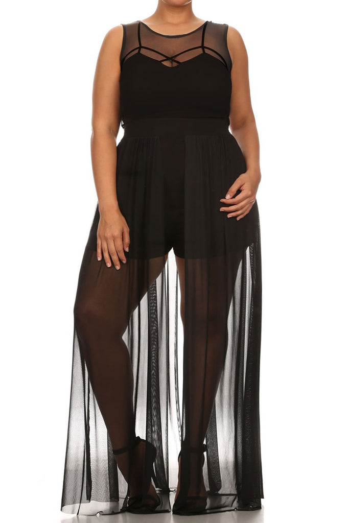 See Through Plus Size Romper With Maxi Overlay