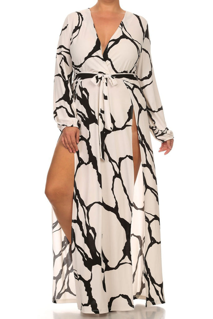 Glam Color Strokes High Slit Plus Size Dress