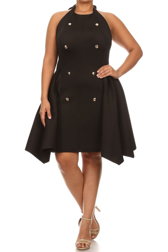 Thick Flare Button Down Sleeveless Plus Size Dress