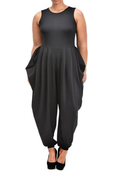 Harem Relaxed Fit Zip Up Plus Size Jumpsuit