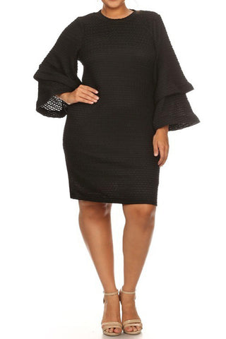 Cozy Chic Layered Bell Sleeves Plus Size Dress