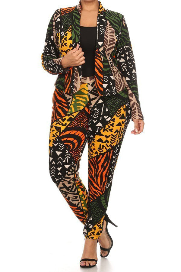Vivid Tribal Print Plus Size Blazer Pants Set
