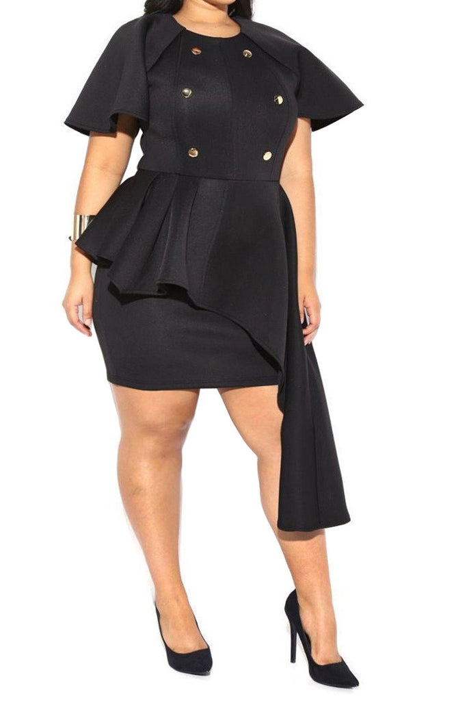 Asymmetrical Ruffled Cap Sleeves Plus Size Dress