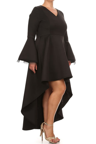 Stunning Dip Hem Bell Sleeves Plus Size Dress