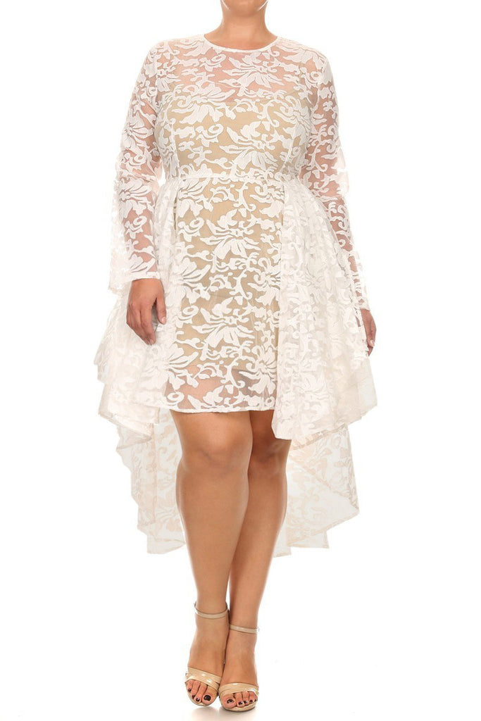 See Through Detailed Hi Lo Lace Plus Size Dress