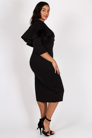 Plus Size Ruffled Sleeves Bodycon Midi Dress