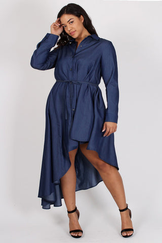 Chambray Asymmetrical Button Down Plus Size Dress