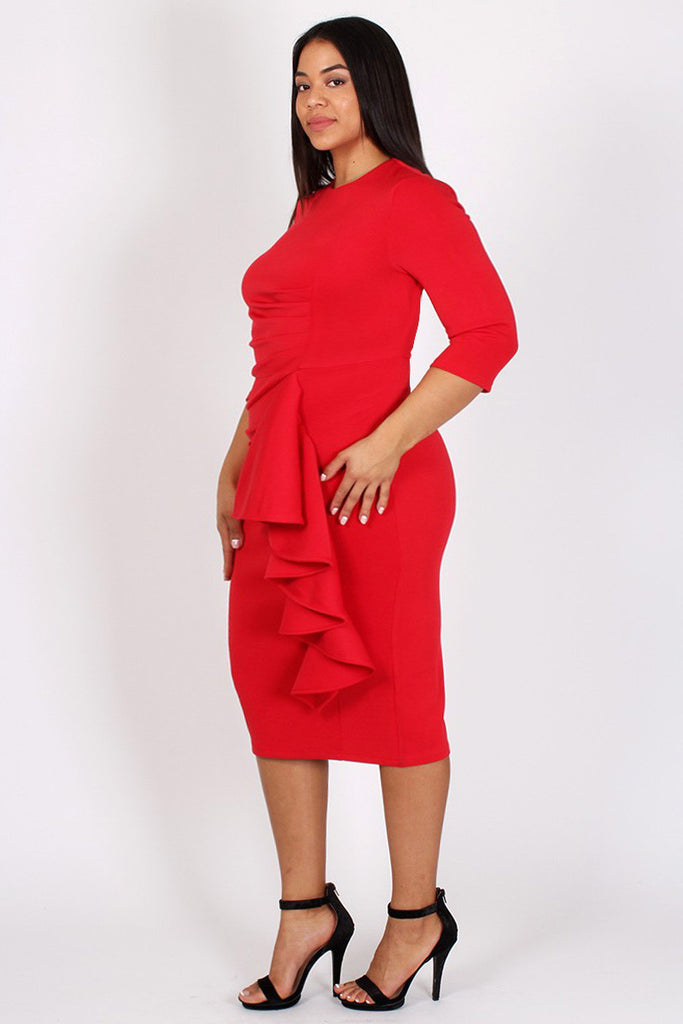 Glam Side Ruffle Zippered Plus Size Dress