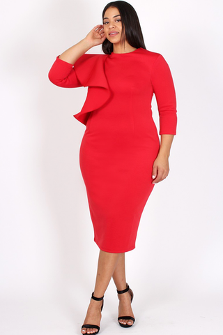 Cocktail Ruffled Shoulder Plus Size Bodycon Dress