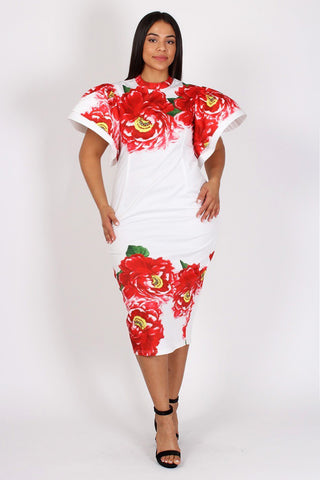 Plus Size Floral Flutter Shoulder Bodycon Dress