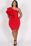 Cosmopolitan Ruffled One Shoulder Plus Size Dress
