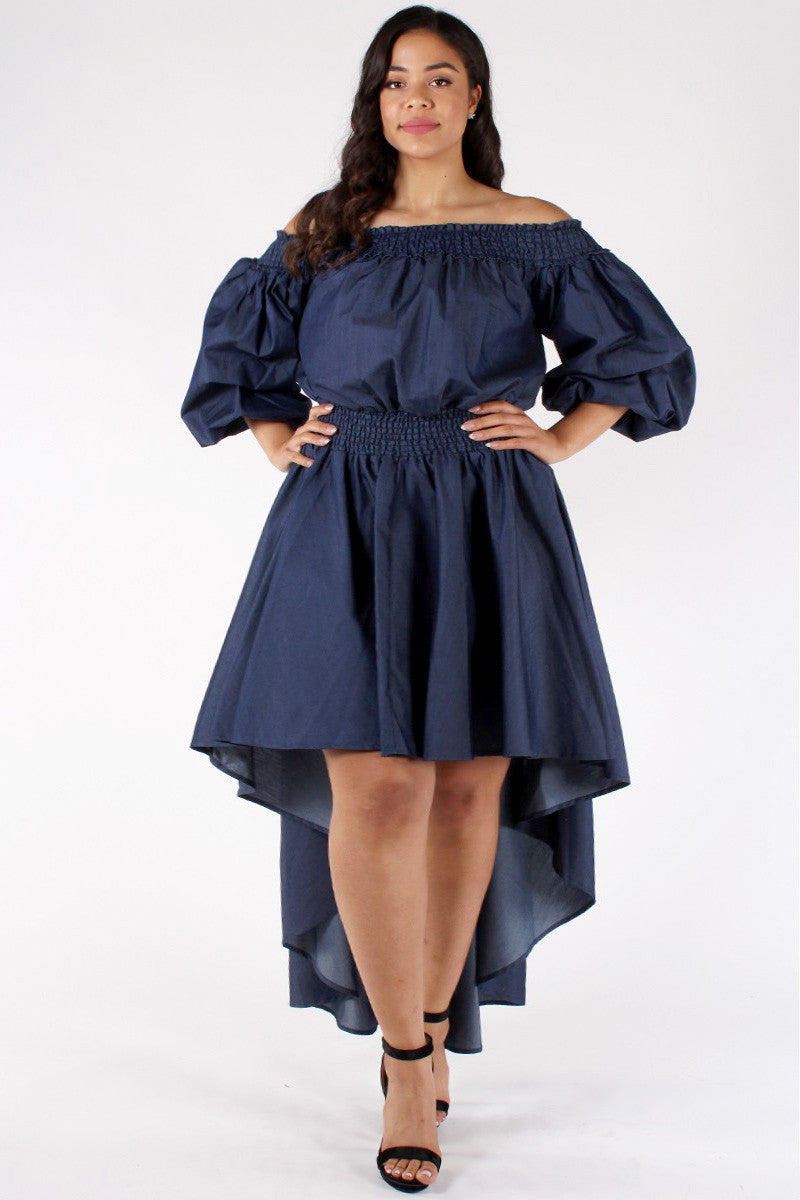 Angelic Ruffle Plus Size Denim Dress – Plussizefix