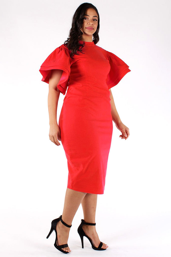 Plus Size Gala Ruffle Sleeves Midi Dress