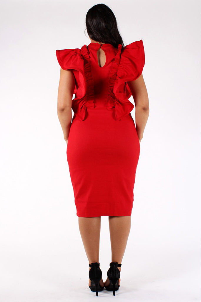 Glam Ruffled Shoulders Sleeveless Plus Size Dress