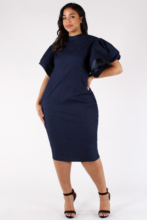 Denim Gala Ruffle Sleeves Plus Size Midi Dress