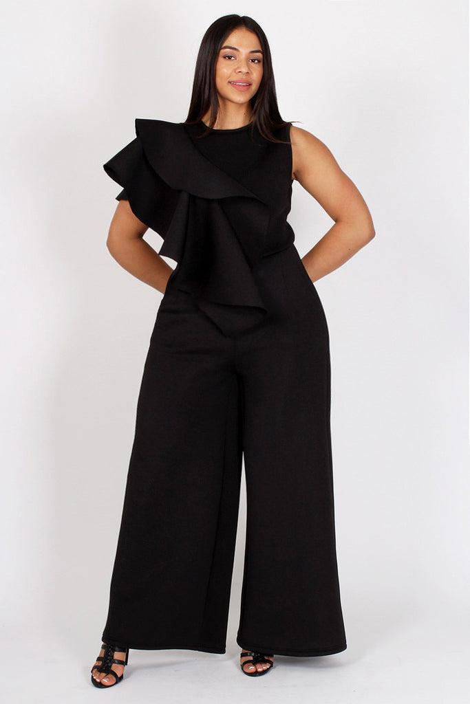 Plus Size Ruffled Trim Side Maxi Leg Jumpsuit Plussizefix