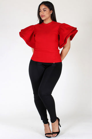 Plus Size Glam Ruffled Sleeve Top