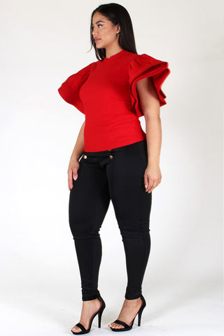 Plus Size SUPER TECHNO Glam Ruffled Sleeve Top