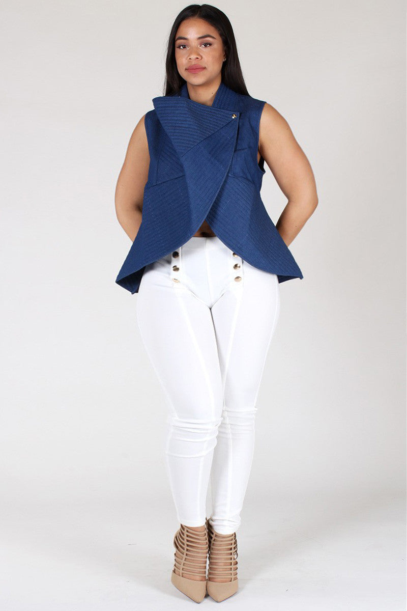 Mod Ribbed Denim Wrapped Plus Size Vest Jacket