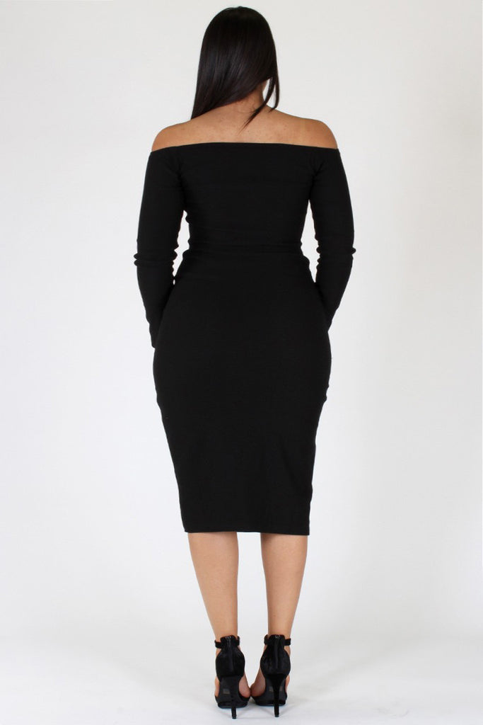 Plus Size Off Shoulder Contrast Trim Dress