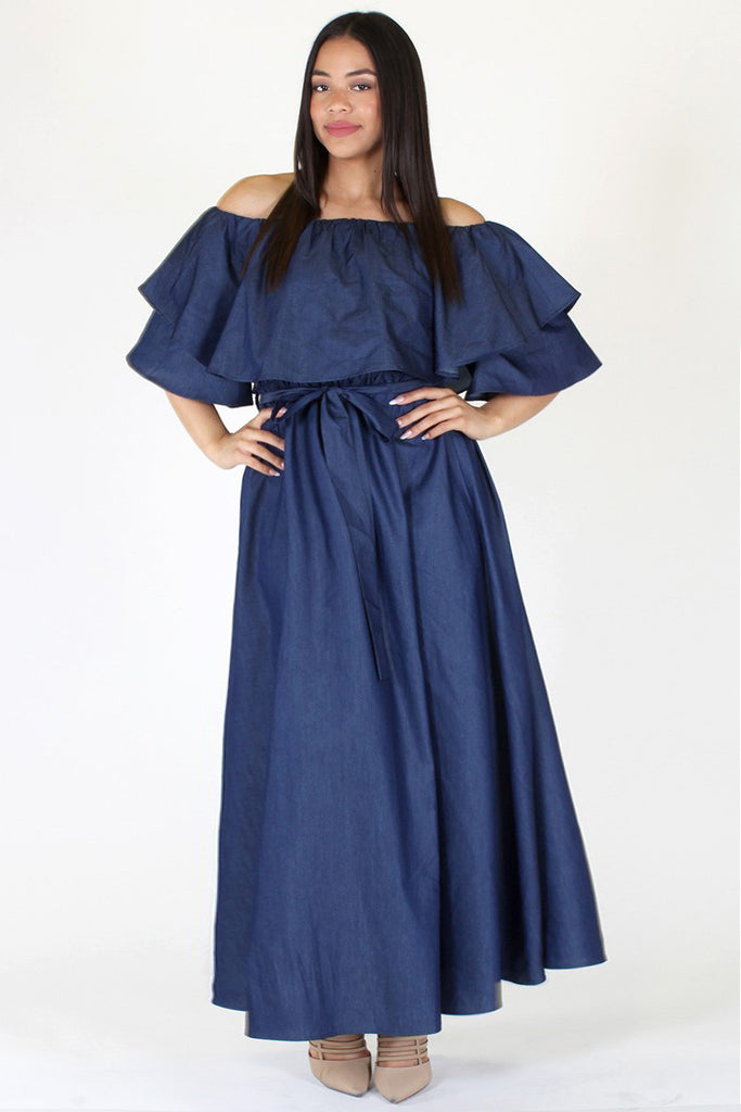 Plus Size Stunning Flounce Neckline Denim Maxi Dress Plussizefix