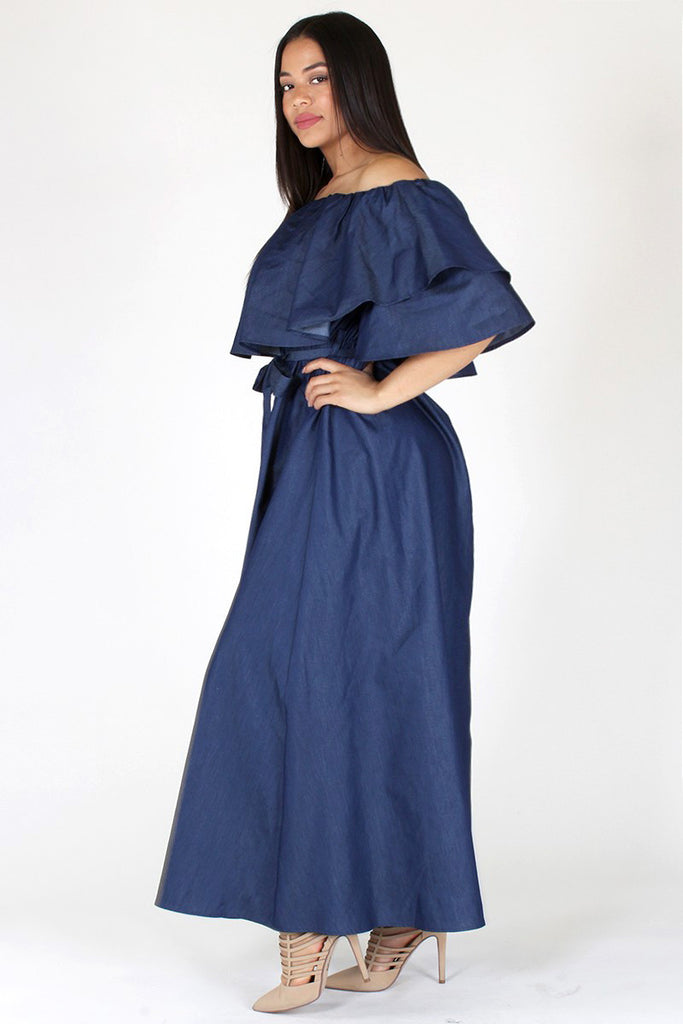 Plus Size Stunning Flounce Neckline Denim Maxi Dress