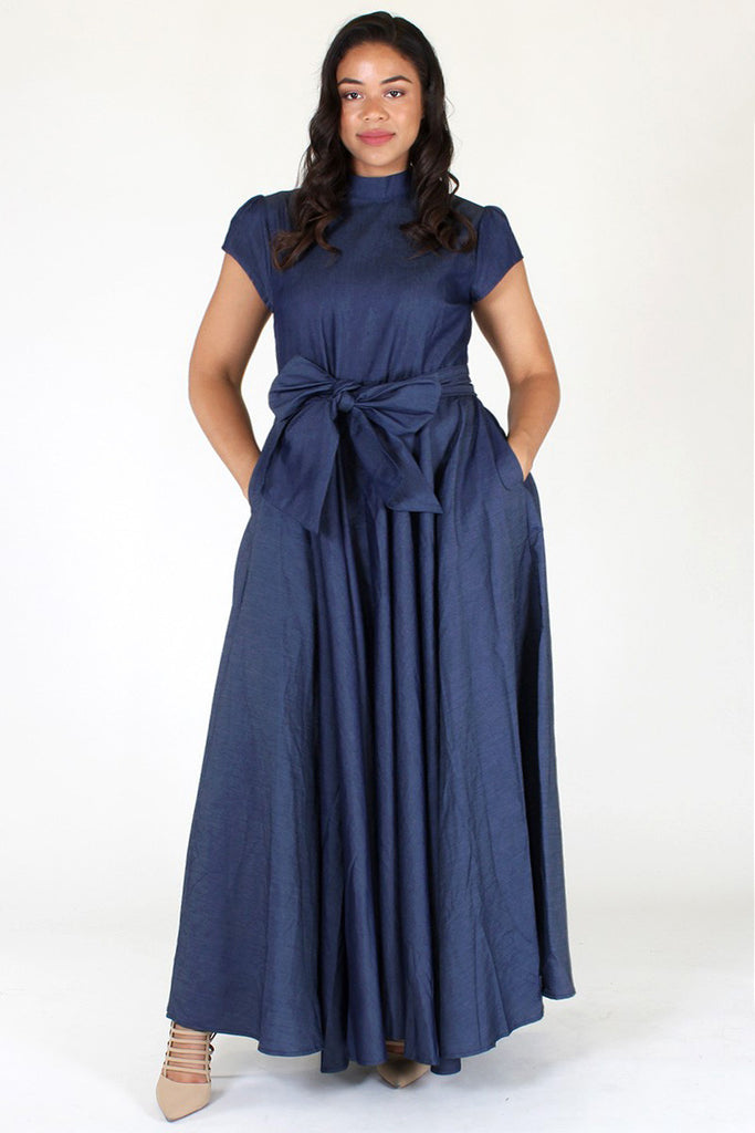 Plus Size Elegant Mock Neck Ribbon Maxi Dress