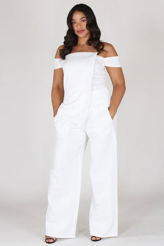 Plus Size Chic Off Shoulder Top and Bottom Set