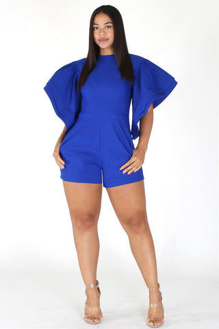 Plus Size Sleek Layered Ruffled Sleeve Bodycon Romper