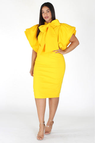 Plus Size Lovable Bow Necktie Ruffle Sleeves Dress