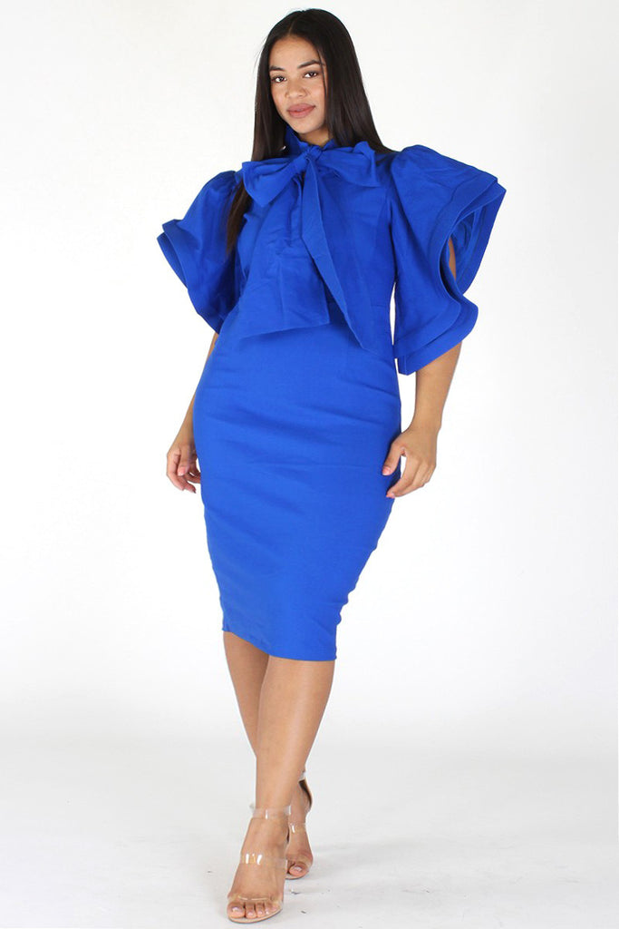 Plus Size Lovable Bow Necktie Ruffle Sleeves Dress Plussizefix