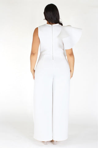 Plus Size Ruffled Trim Side Bell Leg Jumpsuit