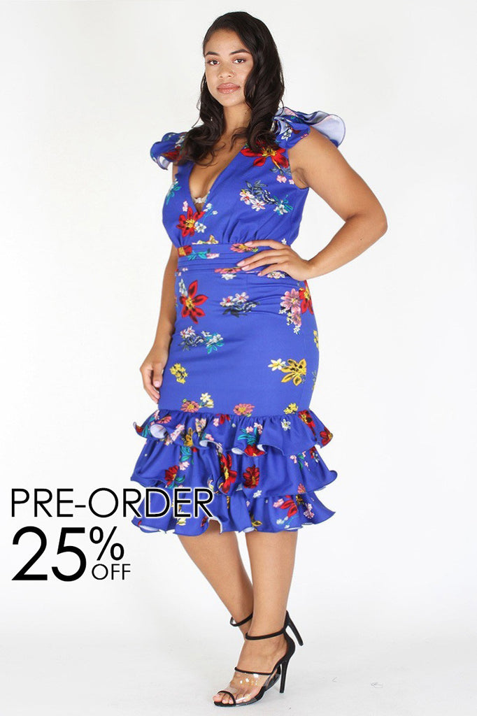 921102a2caa Plus Size Weekend Ruffle Floral Cap Sleeves Dress  PRE-ORDER 25% OFF ...