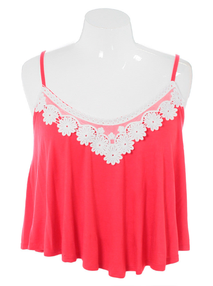Plus Size Breezy Knit Floral Lace Rose Cami