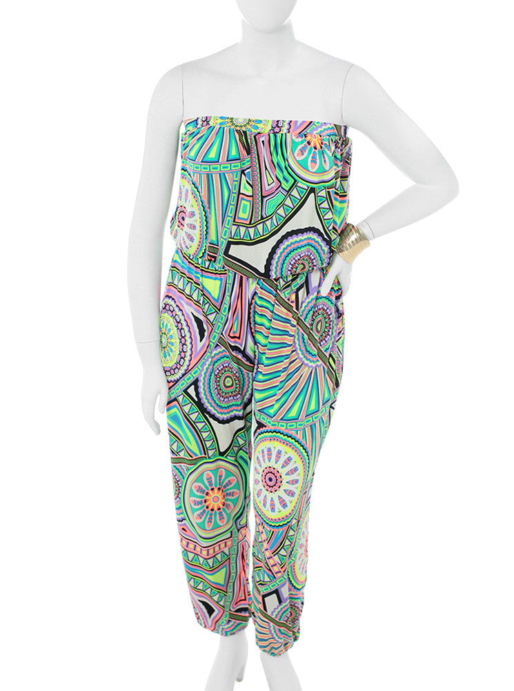 Plus Size Chic Kaleidoscope Print Green Jumpsuit