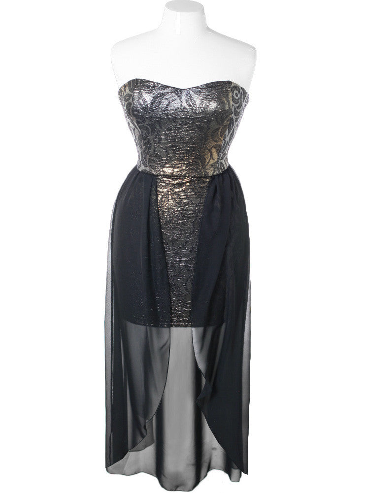 9469eb3df15 Plus Size Metallic Foil Shimmer Dip Hem Dress – Plussizefix