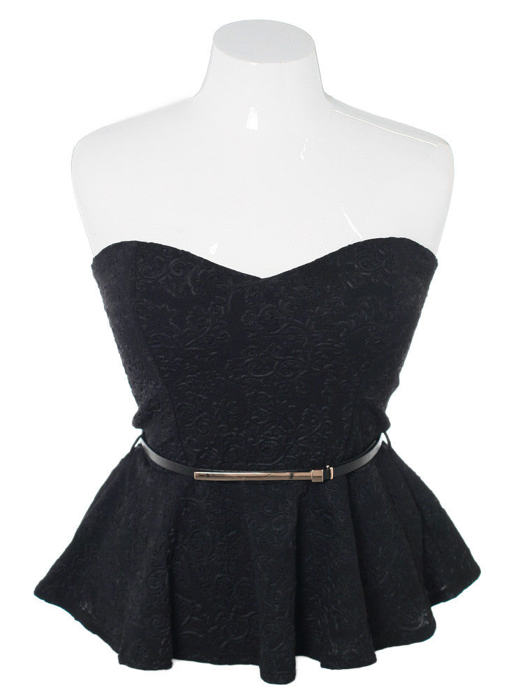 Plus Size Belted Peplum Textured Black Top
