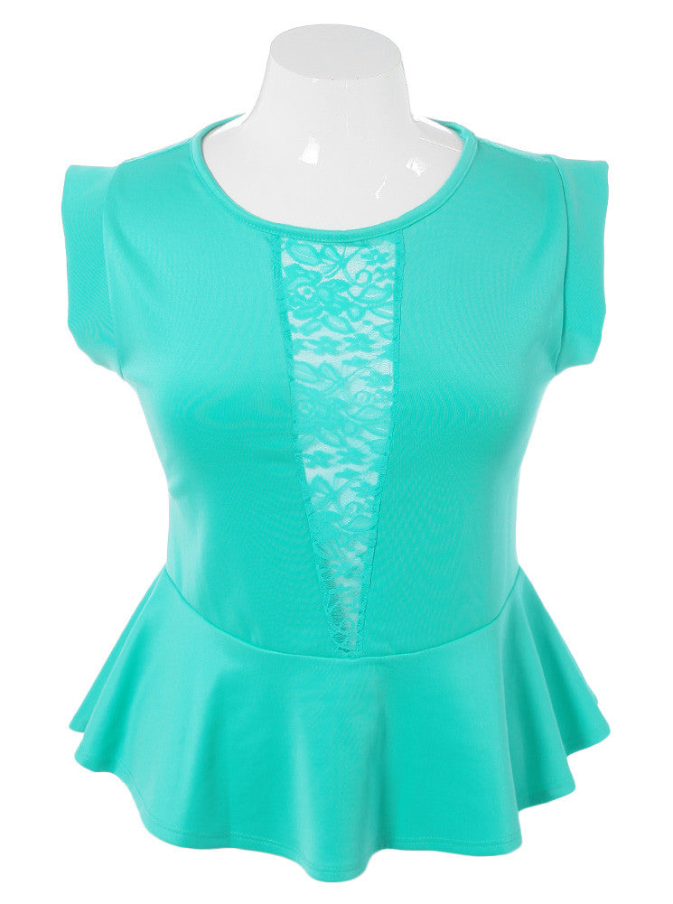 Plus Size Seductive Lace V Peplum Mint Top