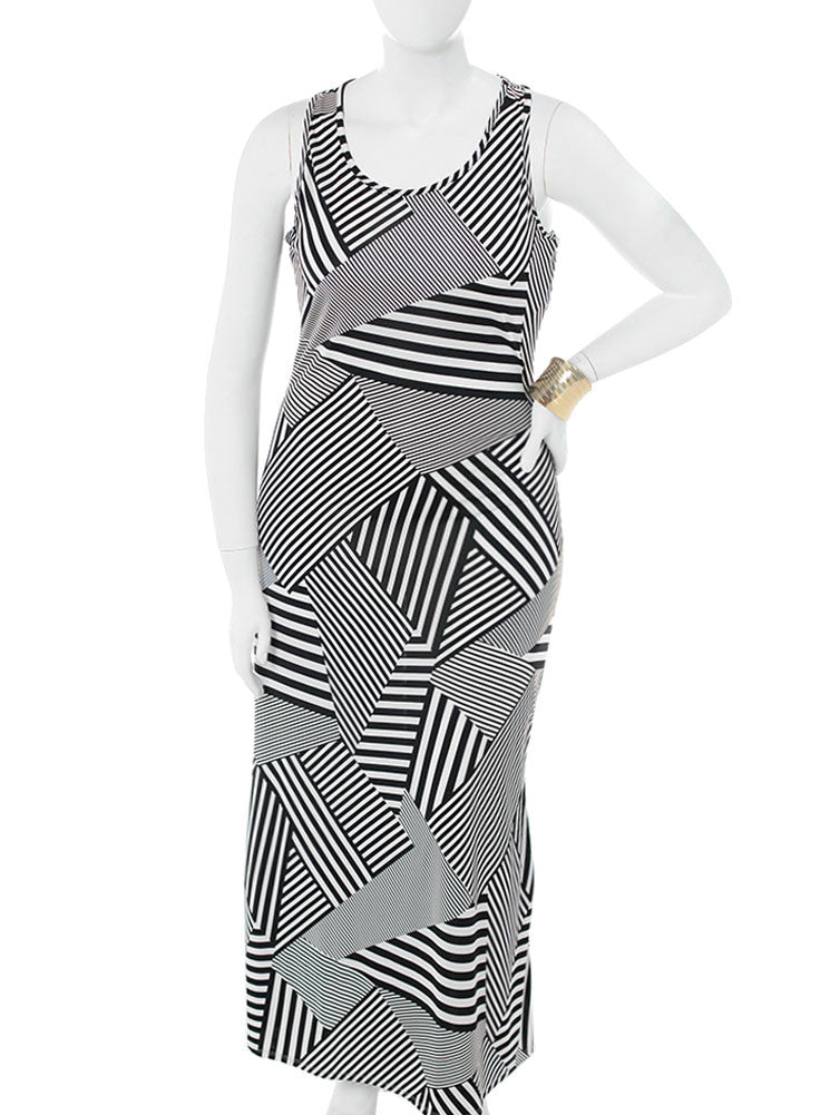 Plus Size Mod Geo Print Maxi Dress